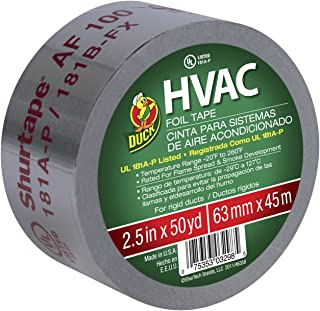 Duck Brand 675590 HVAC UL 181A-P Listed Foil Tape for Rigid Ducts, 2.5-Inch by 50 Yards, Single Roll, Silver