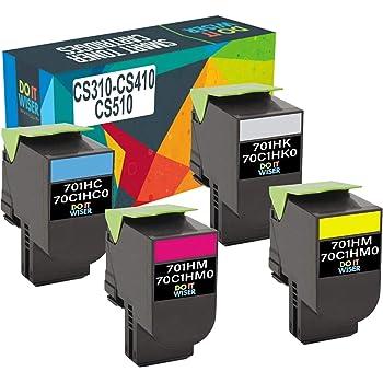 Pegasus Compatible Replacement for Lexmark CS310 CS410 CS510 4K//3K HY 5 Color Toner Set 701HK 701HC 701HM 701HY 70C1HK0 70C1HC0 70C1HM0 70C1HY0