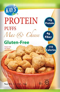 Kay's Naturals Protein Puffs, Mac & Cheese, Gluten-Free, Low Carbs, Low Fat, Diabetes Friendly All Natural Flavorings, 1.2 Ounce (Pack of 60)