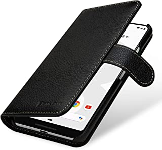 StilGut Case Compatible with Google Pixel 3XL Wallet Flip Cover with Card Slots Made of Genuine Leather, Black