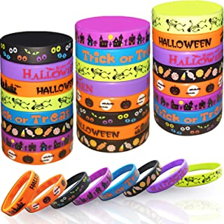 Kids Halloween Party Favors Rubber Bracelets, 40 Pack Halloween Silicone Wristbands for Kids halloween Trick or Treat Gift...