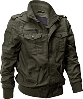 Men's Cotton Lightweight Multi Pockets Zip Front Stand Collar Military Jackets Windbreaker