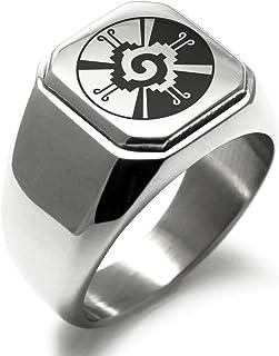 Stainless Steel Mayan Hunab Ku Rune Symbol Square Flat Top Biker Style Polished Ring