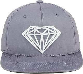 Diamond Logo Brilliant Flat Bill Structured Snapback Adjustable Cap Hat-Mauve Grey