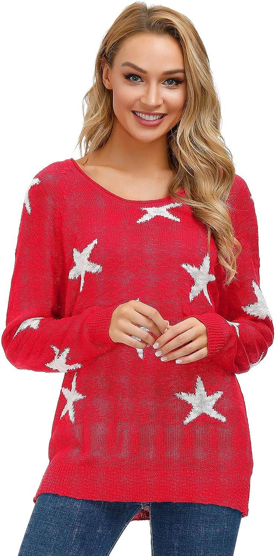 Yidarton Frauen Asymmetrischer Pullover Damen Langarm Pullover Pulli Strickjacke Oversized Baggy Lose Jumper T-Shirt Tops Bluse Rot