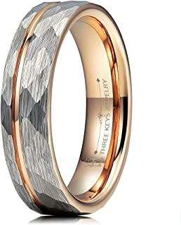 Mens Womens Tungsten Rings 4mm 6mm 8mm Hammered Facet Brushed with Rose Gold Stripe Wedding Bands