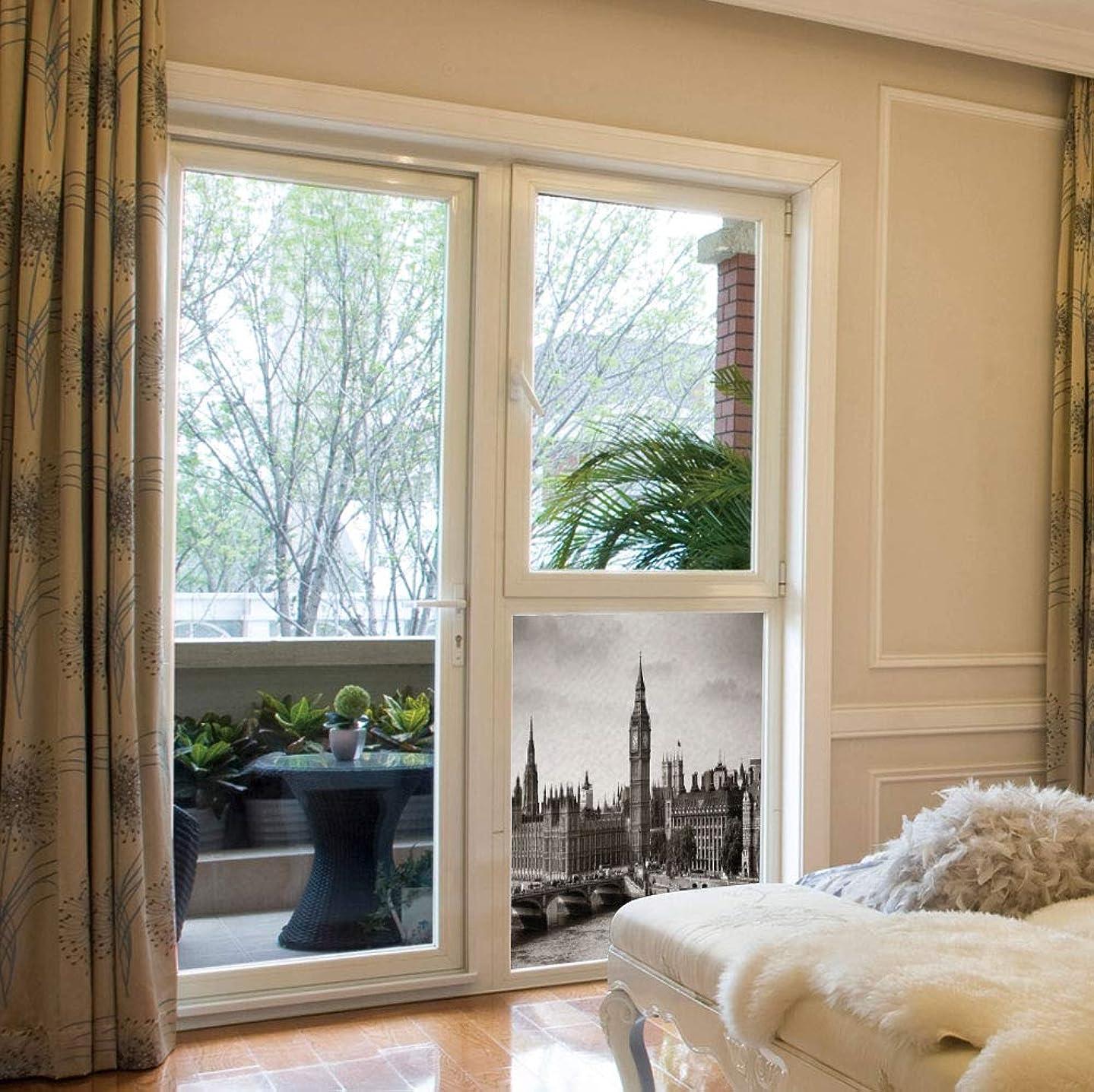 YOLIYANA Stained Glass Window Film,London,for Bathroom Shower Door Heat Cotrol Anti UV,Westminster with Big Ben and Bridge Nostalgic Image,17''x24''