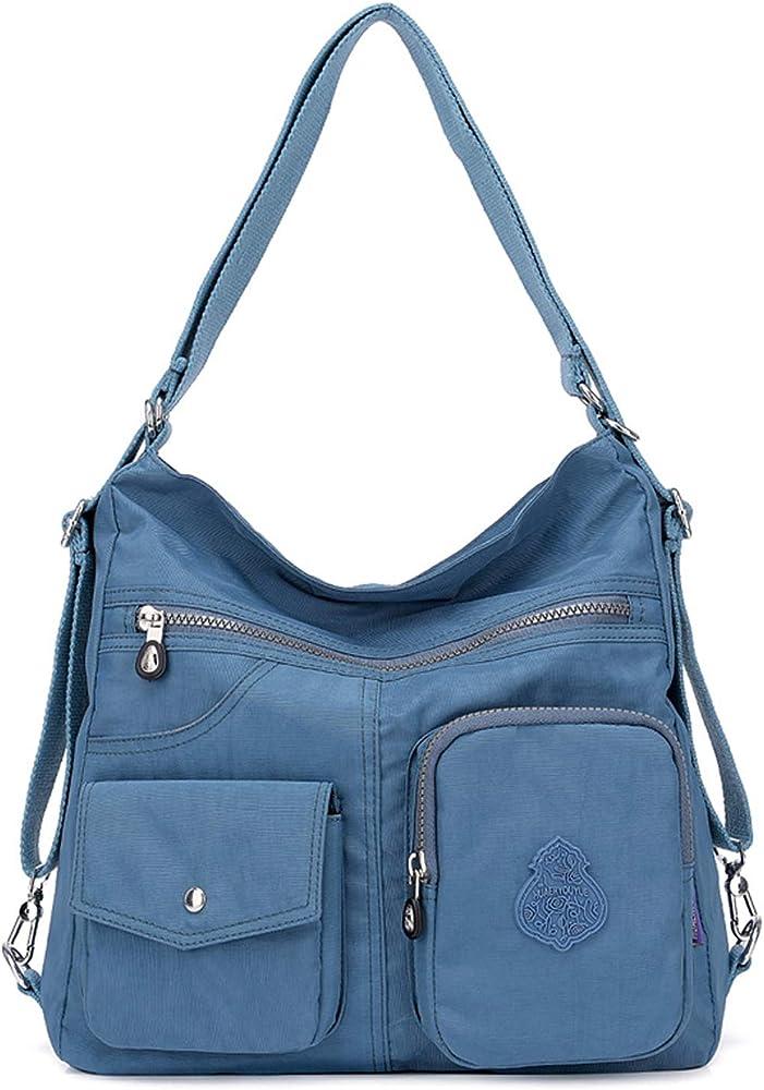 Outreo, borsa/zaino per donna, 100% nylon di cotone di alta qualità, impermeabile, blu two