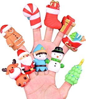 10 Pcs Christmas Finger Puppets, Best Choice for Christmas Stocking Stuffers, Party Favors, Pinata Fillers and Goodie Bag Fillers