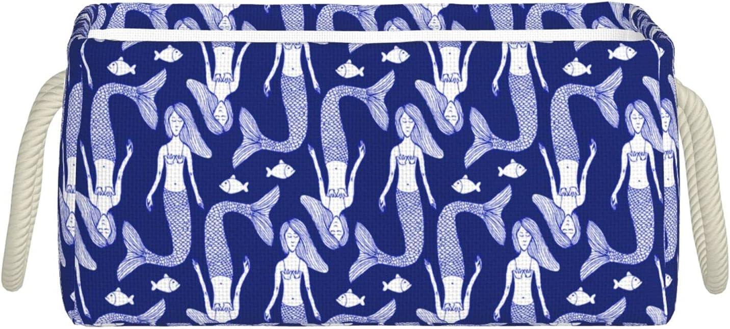 Sketch Mermaid And Fish Fabric Foldable Sacramento Mall Storage Bin Small Max 44% OFF