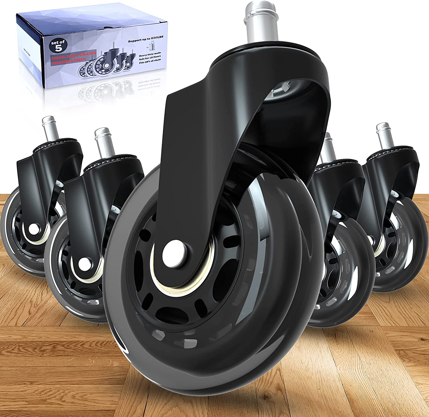Office Chair Wheels, 3 Inch Rubber Chair Casters Replacement, Heavy-Duty Wheels for Office Desk Chair, Safe Quiet Rolling for All Floors, Hardwood and Carpet, Set of 5 Casters