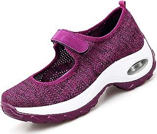 Vorgelen Sandales Femmes Maille Chaussures de Marche Fitness Baskets Mode Compensées Mary Janes pour Femme Casuel Confort ...
