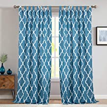 Moroccan Tile Printed Bedroom Curtains 84 Inches Length Quatrefoil Print Waterproof Tab Top Lattice Canvas Curtain Panels for Living Room 1 Panel Blue
