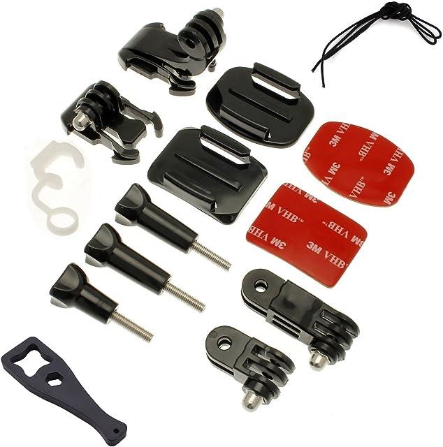 micros2u Kit de Montaje de 14 piezas compatible GoPro Hero 8 7 6 5 3+ 3 Session. Apta para otras cámaras de acción.
