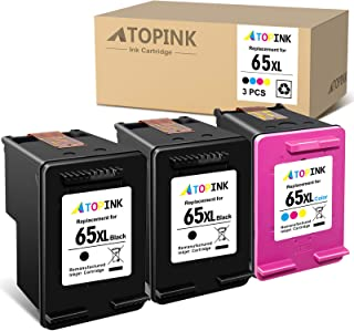 ATOPINK 65 XL Remanufactured Ink Cartridge Replacement for HP 65XL Work with AMP 100 Envy 5055 5052 5010 DeskJet 2624 3755...