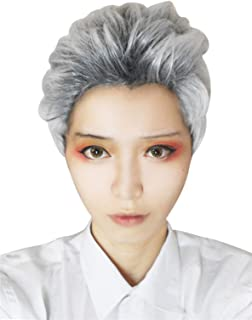 Nuoqi Men Descendants Carlos Short Hair White Gray Mixed Cosplay Wig ZY191, Zy191-grey Mixed, Short
