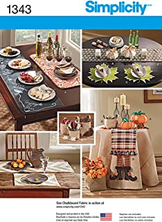 Simplicity 1343 Autumn Themed Tablecloth and Table Accessories Home Décor Sewing Patterns, One Size