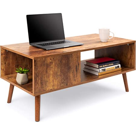 Best Choice Products Wooden Mid-Century Modern Coffee Table, Accent Furniture for Living Room, Indoor, Home Décor w/Open Storage Shelf, Wood Grain Finish - Brown