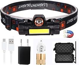 JSJJAUJ Hoofd Torch 2021 NIEUWE Draagbare USB 18650 Oplaadbare Batterij LED Koplamp COB Werklicht 2 Modus Met Magneet Wate...