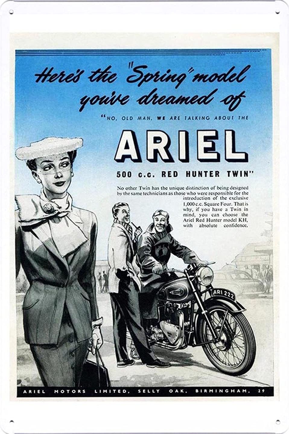 Abstract Sign Ariel 500cc Red Hunter Twin Motorcycles 7.8