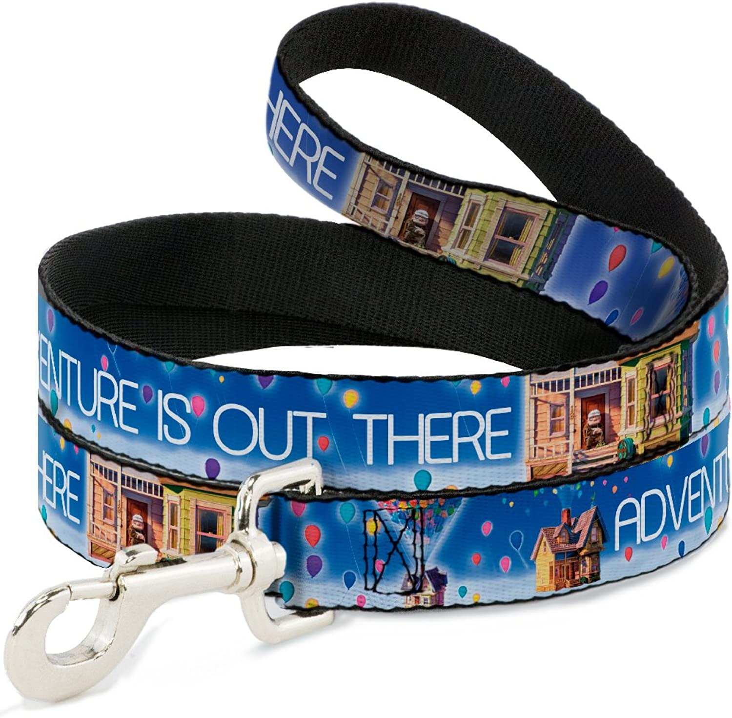 BuckleDown Adventure is Out There Carl On Porch Flying House Balloons bluees White Multi color Dog Leash, 4'