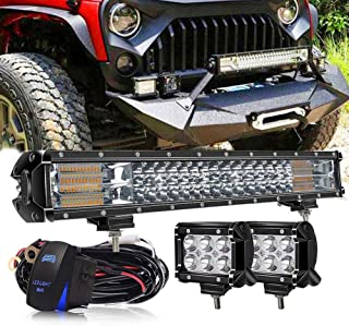 LED Light Bar, DakRide 20 Inch Light Bar 126W Offroad LED Lights W/Rocker Switch Wiring Harness + 2PCS 4 inch LED Cube Pods for Golf Cart ATV Polaris Ranger RZR Dodge Ram Toyota Tacoma SUV UTV Boat