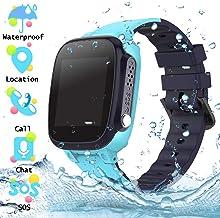 Reloj Inteligente para Niños a Prueba de Agua IP67, Teléfono Smartwatch LBS localizador SOS Alarma por Chat de Voz Cámara, Regalo para Niño Niña Reloj Digital de Pulsera, Azul