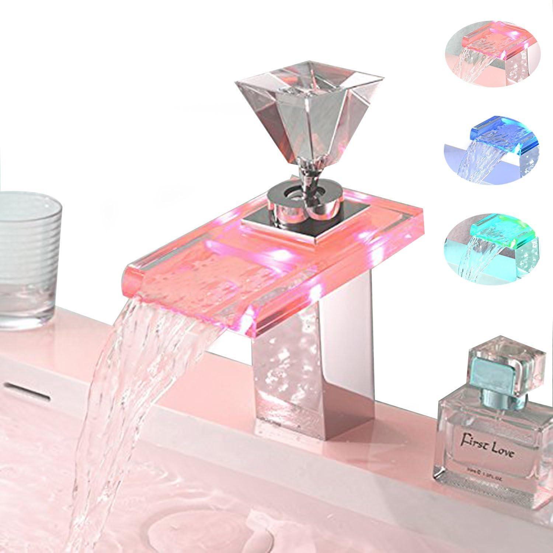 OOFAY TAPS LED RGB Glas Wasserhahn Waschbecken Armatur Waschtischarmatur