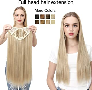 Clip in Hair Extension Blonde Straight Long Thick Full Head One Piece U shape 24