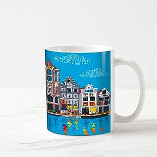 Ahawoso Coffee Tea Mug 11 Ounces House Dutch City View Amsterdam Canal Europe Typical Parks Boat Cityscape Culture Design 11Oz Ceramic Tea Cups Gift Great Boss Coworker Friend Present