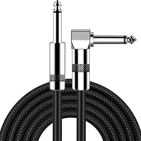 Guitar Cable 10ft New bee Electric Instrument Cable Bass AMP Cord for Electric Guitar, Bass Guitar, Electric Mandolin, Pro Audio (Right Angle to Straight, Black)
