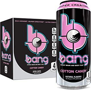 Bang Cotton Candy Energy Drink, 0 Calories, Sugar Free with Super Creatine, 16oz, 4 Count