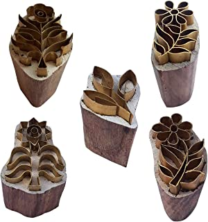 Royal Kraft Floral Brass Wooden Stamps (Set of 5) for Block printing on Clay, Pottery, Fabric BHtag0069