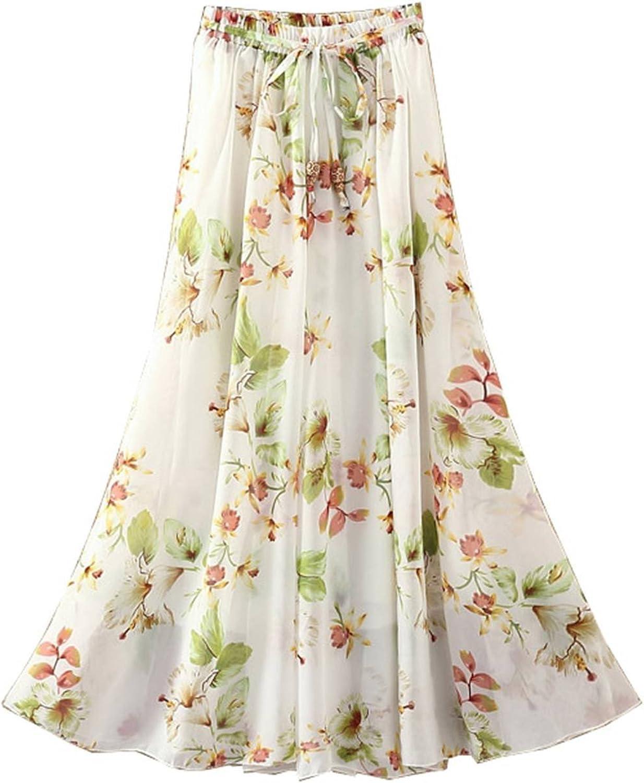 Kaxuyiiy Women's Boho Flower Print 2 Layer Beach Party Maxi Long Pleated Skirt