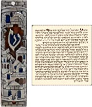 Talisman4U Silver Enamel Jewish MEZUZAH CASE with Scroll Jerusalem Israel Judaica Door Mezuza 4 Inch