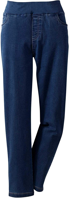 National Pull on Stretch Jeans, Dark Stonewash, 18W