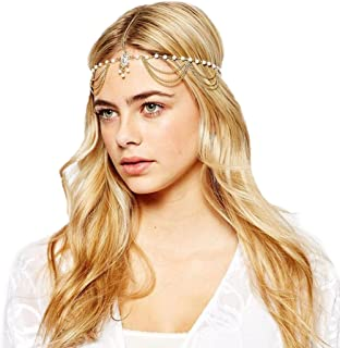 Jovono Bohemia Headband Head Chain with Rhinestone and Beaded Tassel for Women and Girls
