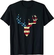 USA American Flag Whitetail Deer Buck Antler Silhouette  T-Shirt
