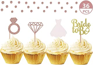 JeVenis Set of 36 Glitter Bride to be Cupcake Toppers Diamond Ring Wedding Dress Cupcake Toppers for Wedding Engagement Bridal Shower Decorations