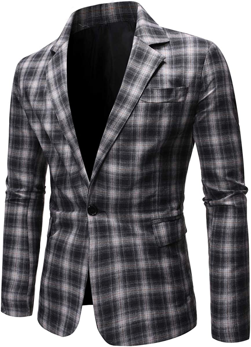 Men's Plaid Daily Suit Blazer 1 Button Single Breasted Jacket Casual Sport Coat