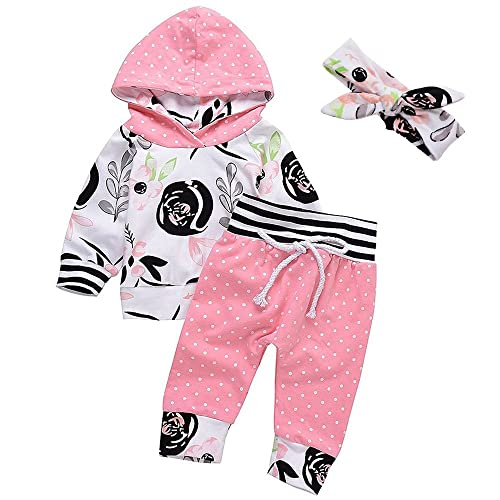 3Pcs Baby Girls Flower Long Sleeve Hoodie Tops Sweatsuit Dot Long Pants  Headband Outfit Set dd8d17877d2a