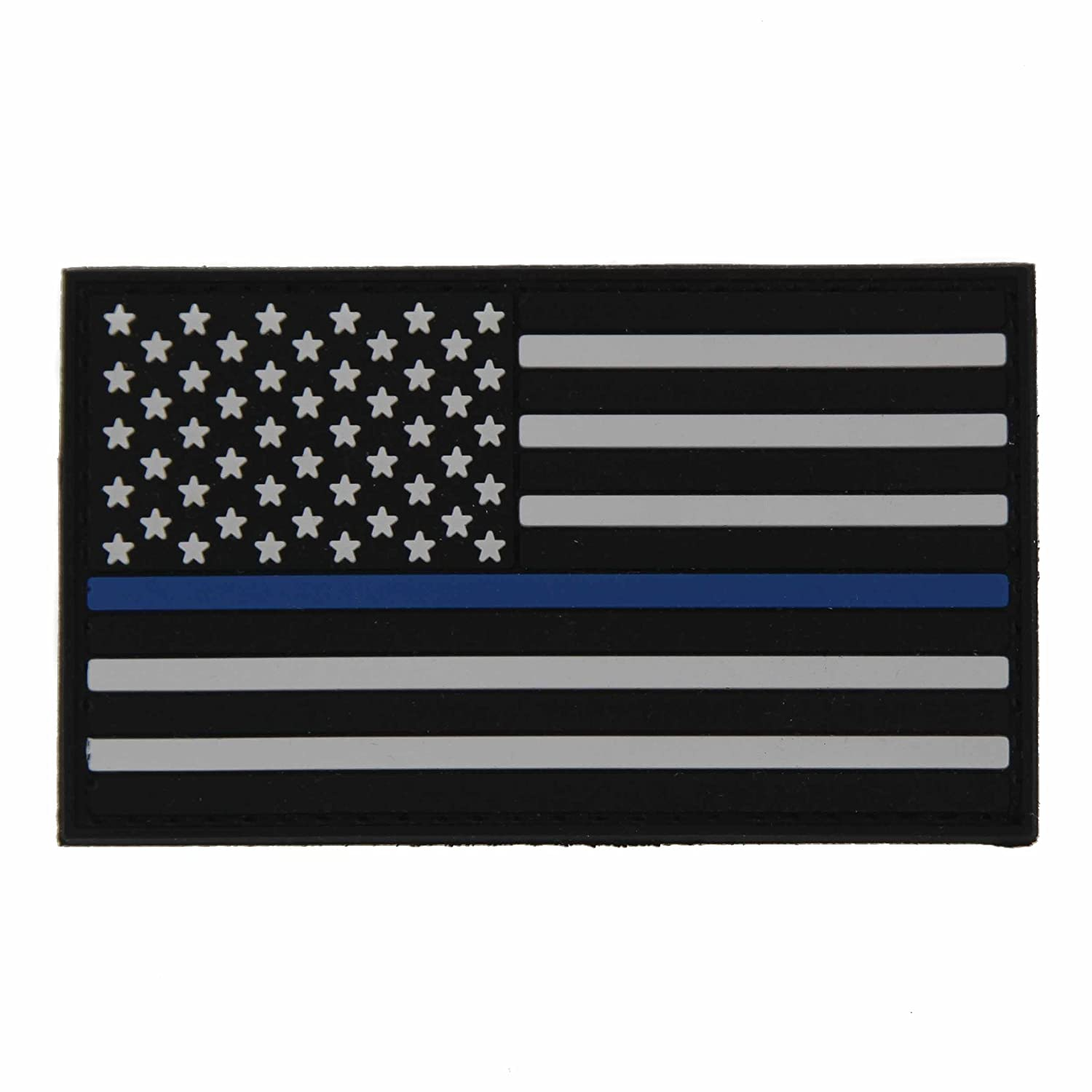 NEO Tactical Gear US Flag Thin Blue LINE for Police and Law Enforcement - Crossfit Patch - PVC Morale Patch, Hook Backed Morale Patch