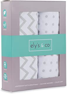 Changing Pad Cover Set , Cradle Sheet 2 Pack 100% Jersey Cotton Unisex Sheets for Baby Girl and Baby Boy Grey Chevron and Polka Dots by Ely's & Co.