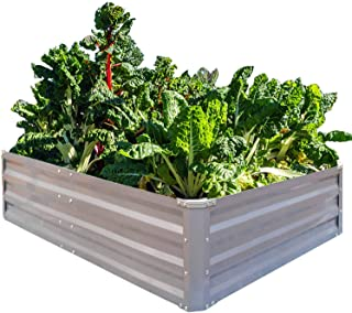 FOYUEE Galvanized Raised Garden Beds for Vegetables Metal Planter Boxes Outdoor Large Patio Bed Kit Planting Herb 4 x 3 x 1ft