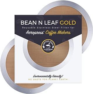 Aeropressコーヒーメーカー用プレミアム再利用可能フィルター2枚 Aerobie Aeropress コーヒーメーカーモデル用 耐久性のあるステンレススチールと簡単に洗える金属。 Coffee Bean n Leaf Brews ゴールド2パック