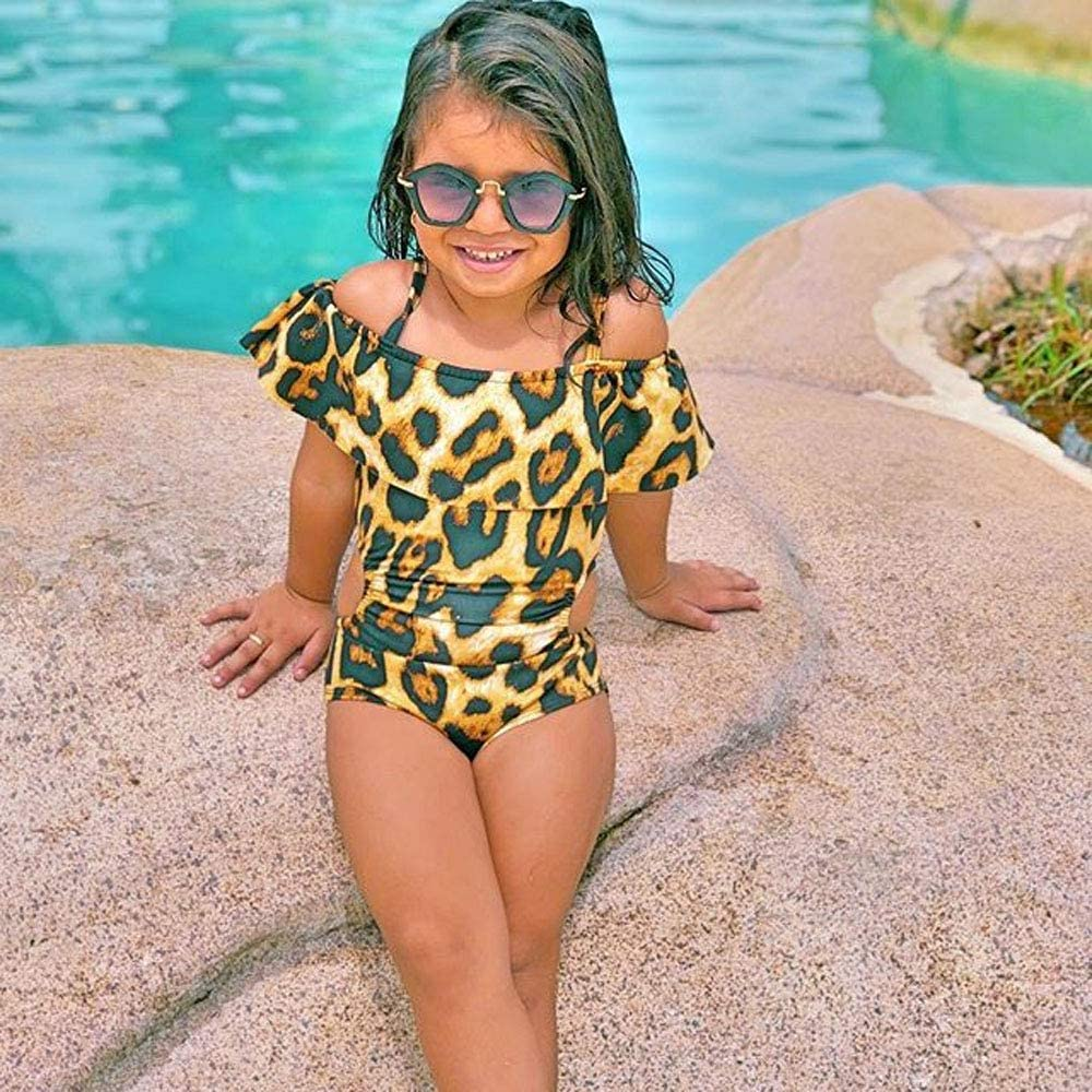 Toddler Baby Girl Bathing Suit One Piece Leopard Ruffle Swimsuit Bikini Off The Shouler Beachwear Summer Clothes