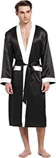 LilySilk Mens Silk Robes 100 Pure Mulberry Long Japanese Kimono Style Sleepwear Luxury Contrast Color Loungewear