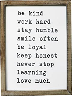 SANY DAYO HOME Wall Decor Signs with Inspirational Sayings 16 x 12 inches Rustic Wood Framed Modern Farmhouse Wall Hanging Art - Be Kind, Stay Humble, Never Stop