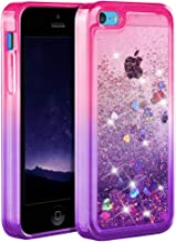 Ruky iPhone 5c Case, [Gradient Quicksand Series] Glitter Flowing Liquid Floating Protective Shockproof Clear TPU Girls Case for iPhone 5c (Pink Purple)