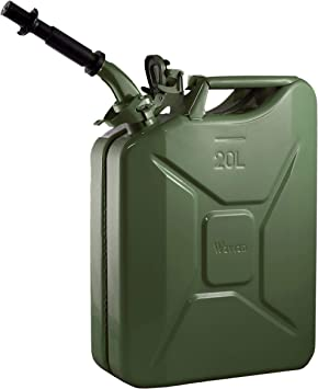 Wavian USA JC0020KVS Green Authentic NATO Jerry Fuel Can and Spout System (20 Liter): image
